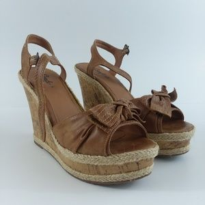 Candie's Cabrice Cognac wedges size 8-1/2 M